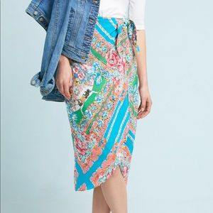 Anthropologie Maeve Silk Faux Wrap Midi Skirt Sz10